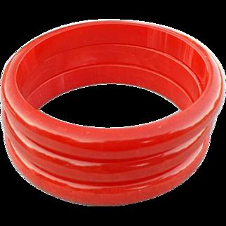 SALE Three Bakelite Bangle Bracelets Swirling Shades of Rich Red