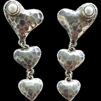 Sterling Silver Triple Heart Pierced Earrings with Real Pearls