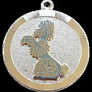 Vintage Sterling Silver Poodle Dog Charm for Bracelet