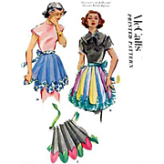 Very Unique Vintage McCalls Apron Sewing Pattern 1950s  Half Aprons