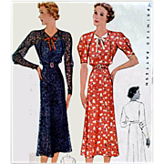 Rare Vintage 1930s Dress Sewing Pattern Bust 40 McCall 9146