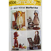 "1973 Vintage 16"" Holly Hobbie Stuffed Doll with Clothing Sewing Pattern"