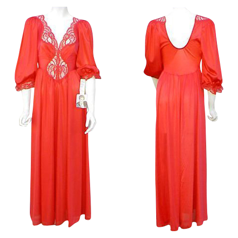 Unusual Vintage OLGA Nightgown size Large Hot Red Unworn Deadstock