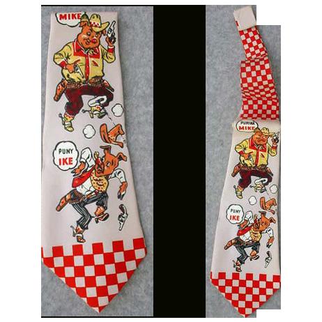 Men's Vintage Necktie 1950s Advertising Purina Pig Chow Farmer