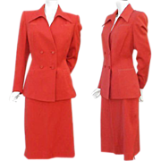 Iconic 1940s Gabardine Suit True Red Size Large - X Large Valentine's Day Red