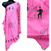 1960s 21 Club Pink Silk Scarf No. 23 Jockey Iron Gate New York Mint unused