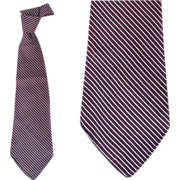 1940s Vintage Necktie Brown White Sophisticated Stripe