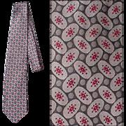 Vintage Fendi Silk Necktie Gray Charcoal Red Neck Tie