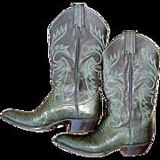 Womens Vintage Cowboy Boots 6 B Green Lizard & Leather