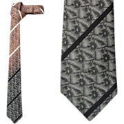 1960s Skinny Silk Necktie Ombre Shading Tan to Black