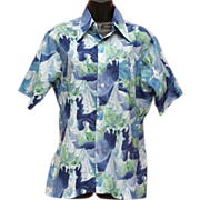 1970s Men's Picture Shirt Disco Deco Print Size Medium