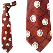 1950s Wide Vintage Rayon Necktie by Arrow Classy Print on Brown