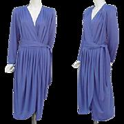 1970s Vintage Dress Daring Neckline Slinky Purple Size Medium