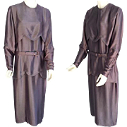 1920s Silk Charmeuse Dress  Extra Large Opera Mauve Downton Abbey