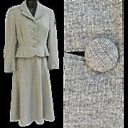 1940s Women's Wasp Waist Suit Gray Tweed Size Medium Mint