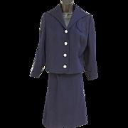 1950s Navy Blue Women's Suit Sailor Collar MOP Buttons Medium to Large