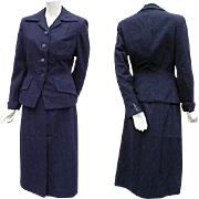 Women's Suit 1940s Icon Bust 35 Medium Fitted Jacket Superb Fabric