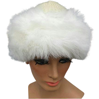 White Knit Hat with Fluffy Faux Fur Trim Small Medium Large for Windy Days