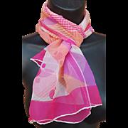 Vintage 1970s Silk Chiffon Scarf Soft Purple Hot Pink and Peach