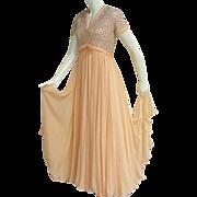 Delicious 1960s Peach Nectarine Silk Chiffon Evening Gown Rhinestones Beads Faux Pearls