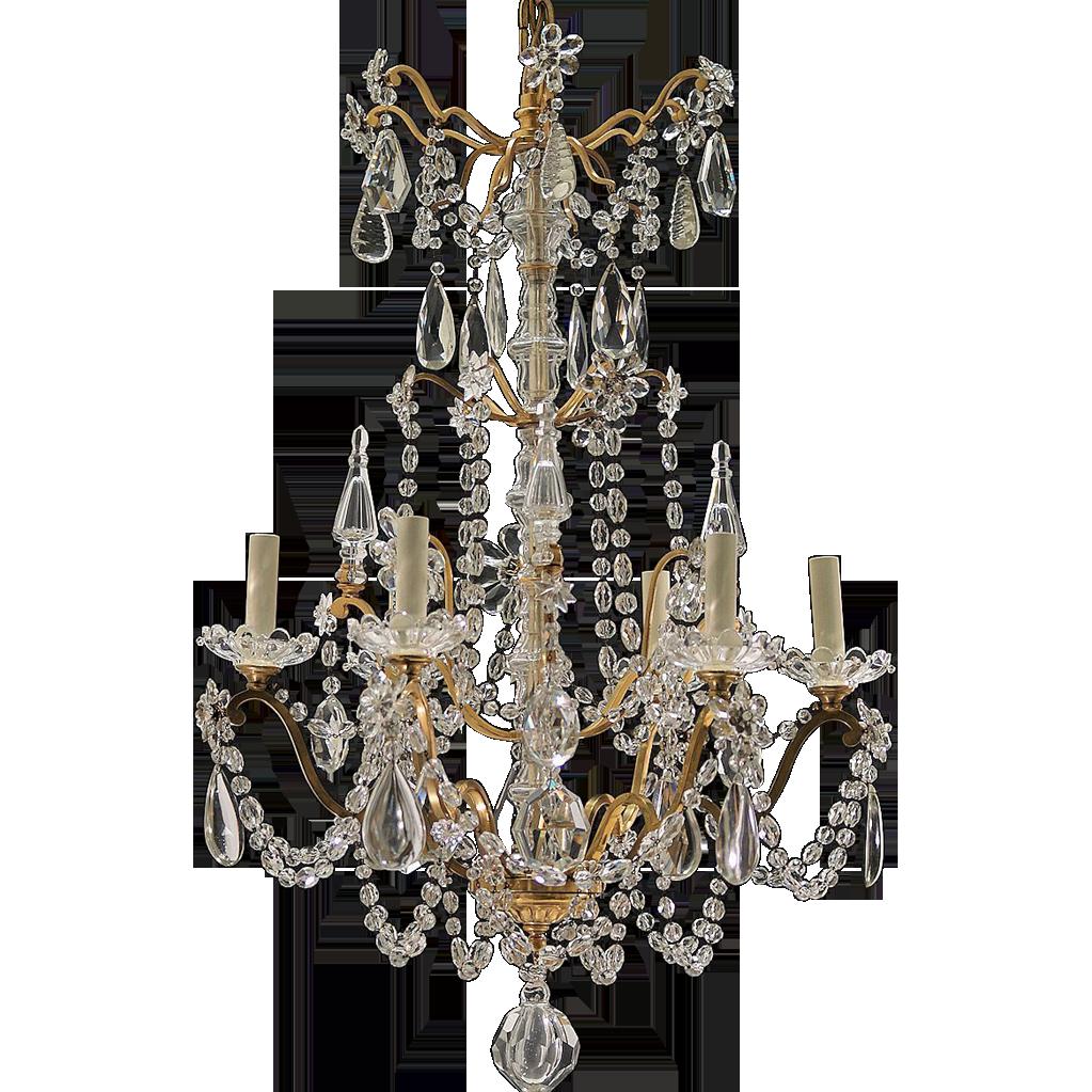 Antique 6-Light French Gilt Brass & Crystal Chandelier