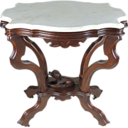 Victorian Walnut Parlor Table - Carved Dog