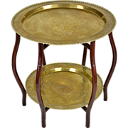 Vintage Mid-Century Brass Tray Table - 2 Tier - Hong Kong