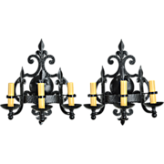 Pair Vintage Iron Fleur-de-Lis Sconces - 3 Lights
