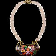 Vintage Champleve David Kuo Necklace - Rose Quartz Beads