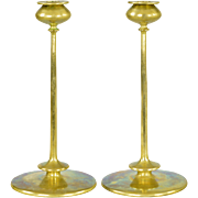 Pair Antique Brass Art Nouveau Candlesticks