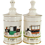 Pair Vintage Apothecary Jars with Antique Automobiles