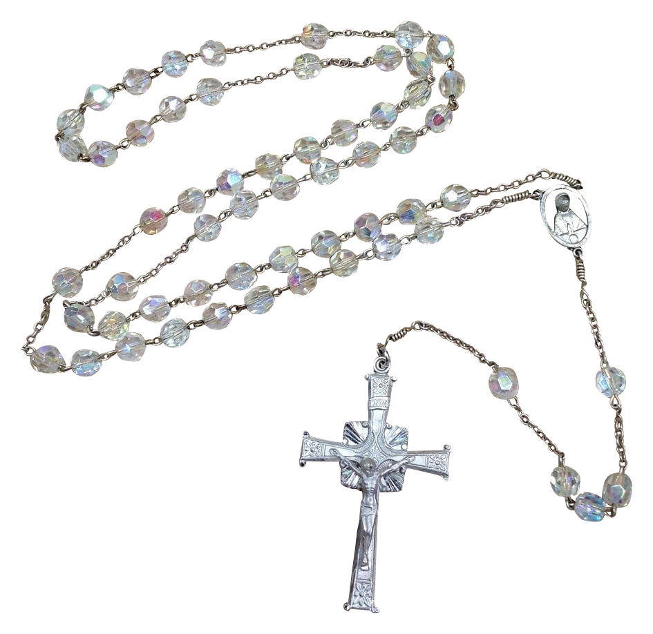 Vintage Sterling Silver Rosary & Crucifix