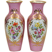 Large Pair Antique KPM Vases - Pink w/Hand Painted Florals - Gilded