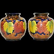 Pair Vintage Awaji Pottery Vases