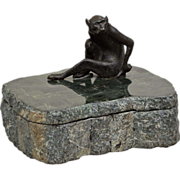 Vintage Maitland Smith Marble Box - Bronze Monkey
