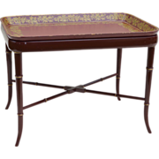 Papier Mache Tray Table Burgundy / Red