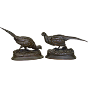 Antique French Bronze Pheasants Sculptures - Moigniez & Barye