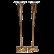 Vintage Bronze Church Flower Stands - Adjustable Height