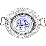 Lovely Flow Blue Plate with Wire Basket, circa 1900