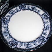 "Lovely 10 1/2"" Flow Blue Plates (Set of 8) MIKADO Grimwades"