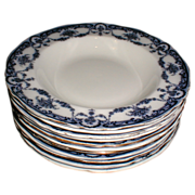 """Lovely Flow Blue 8 3/8"""" Soup Plate REX Adderleys (9 available)"""
