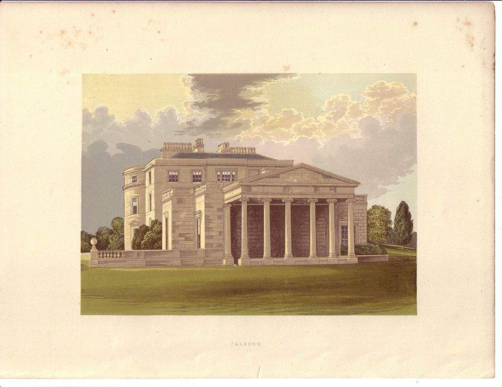 British Ancestral Home Xylography CALEDON F.O. Morris