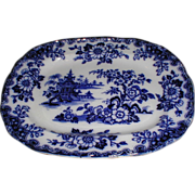Gorgeous Flow Blue Platter HONG Maker Unknown