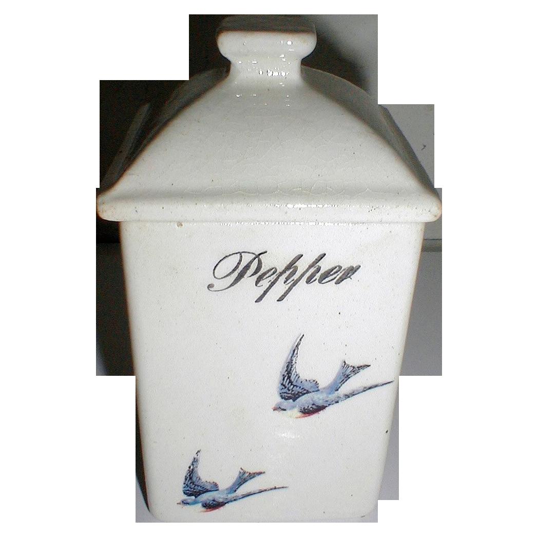 Lovely Bluebird China Pepper Jar (Canister)