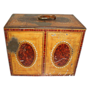 British Biscuit Tin, Satinwood Tea Caddy, Crawford 1938