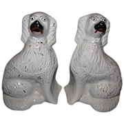 Large Pair of White Staffordshire Dogs (Spaniels) English 19th Century