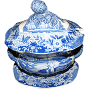 Lovely Blue Transferware Sauce Tureen, Lid, Underplate, BRAMELD