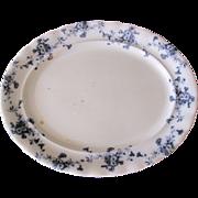 Lovely Flow Blue Platter (Medium) Furnivals CARNATION c. 1890