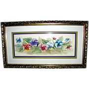 Lovely Vintage Watercolor Painting- Pansies Signed