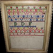 1876 Colorful Alphabet Sampler, Framed, Incomplete